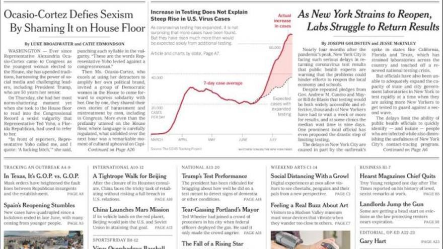 Faldón de portada del 'New York Times' donde viene el reportaje, abajo a la izquierda, referido a los brotes en España.