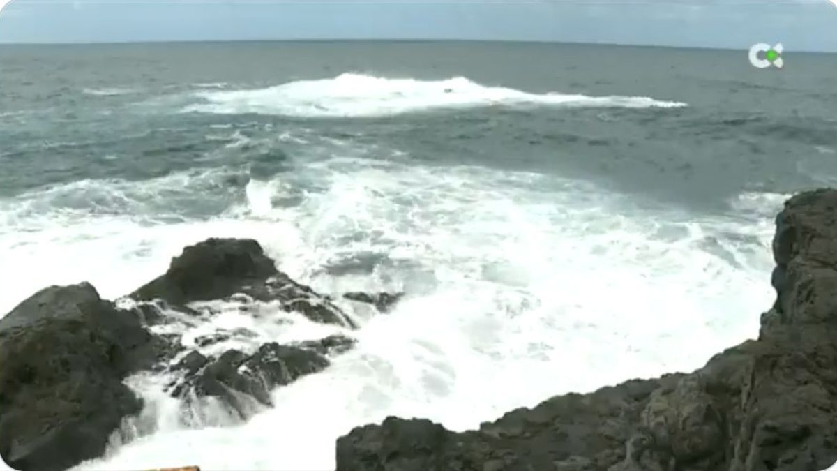 Zona donde cayó al mar el pescador. Foto: TELEVISIÓN CANARIA