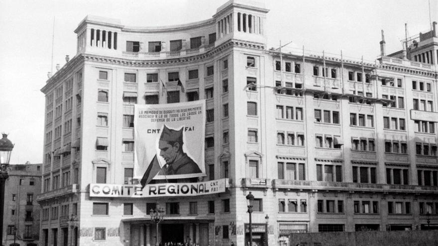 Sede del comité regional de la CNT-FAI, situada en la actual Via Laietana (conocida entonces como Via Durruti)