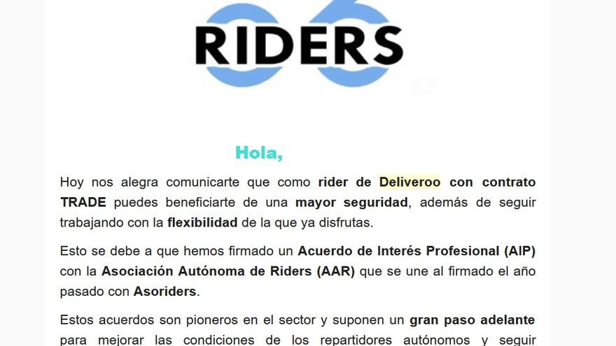 Captura del inicio del email de Deliveroo a sus mensajeros sobre el Acuerdo de Interés Profesional con AAR.
