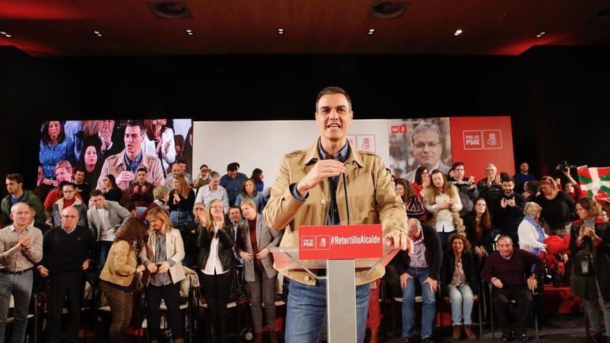 Pedro Sánchez, durante el acto electoral en Barakaldo. Foto: Socialistas vascos