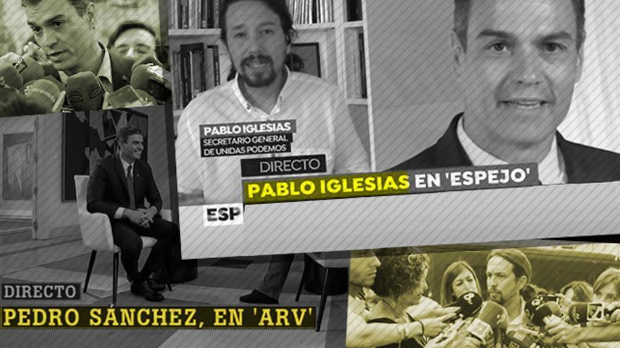 Pedro Sánchez y Pablo Iglesias en algunas de sus entrevistas en televisión
