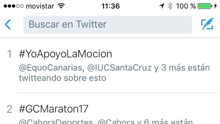 Trending Topic en Twitter de la etiqueta #YoApoyoLaMoción