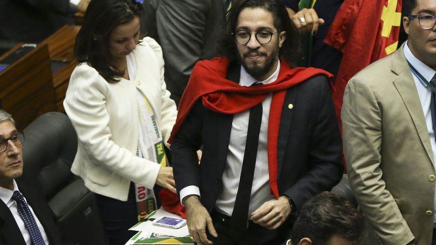 Wyllys tras votar no al proceso de impeachment contra la expresidenta Dilma Rousseff en abril de 2016.