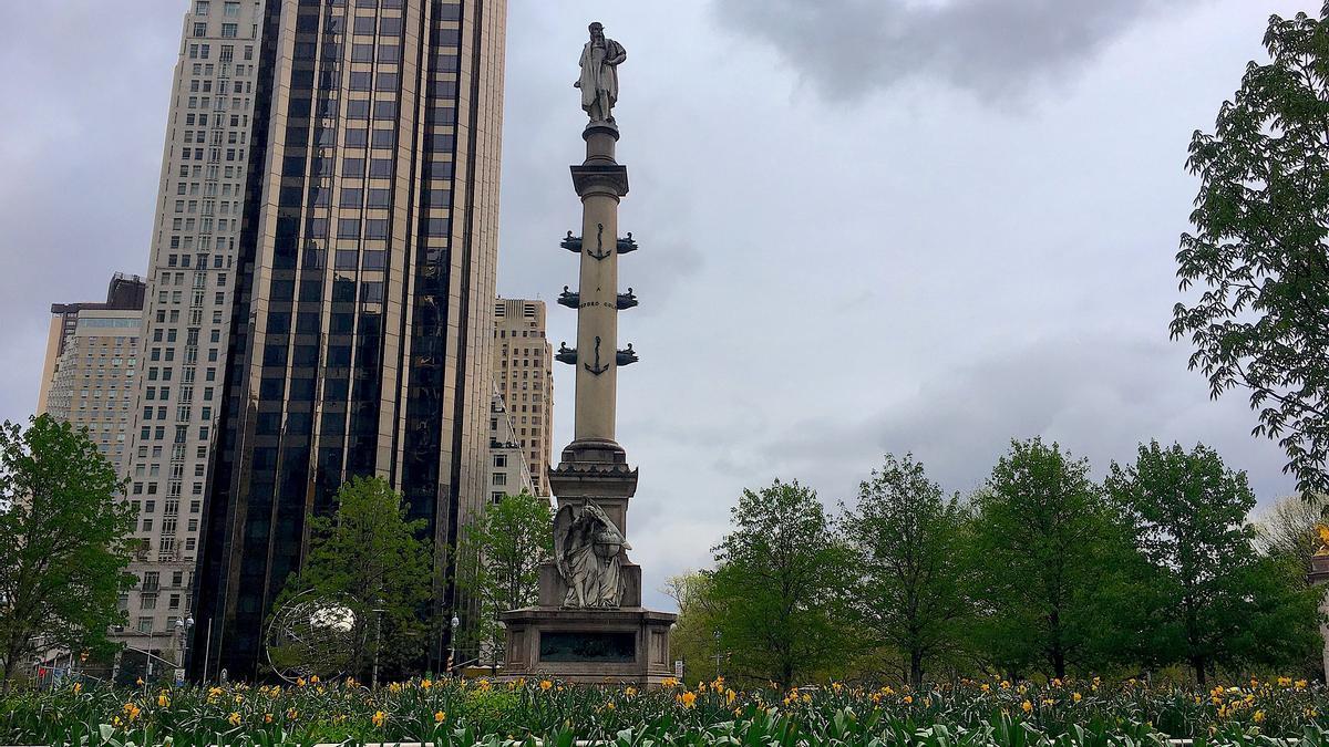 La estatua de Cristóbal Colón en Columbus Circle, en Nueva York