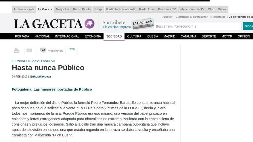 Captura del artículo de La Gaceta