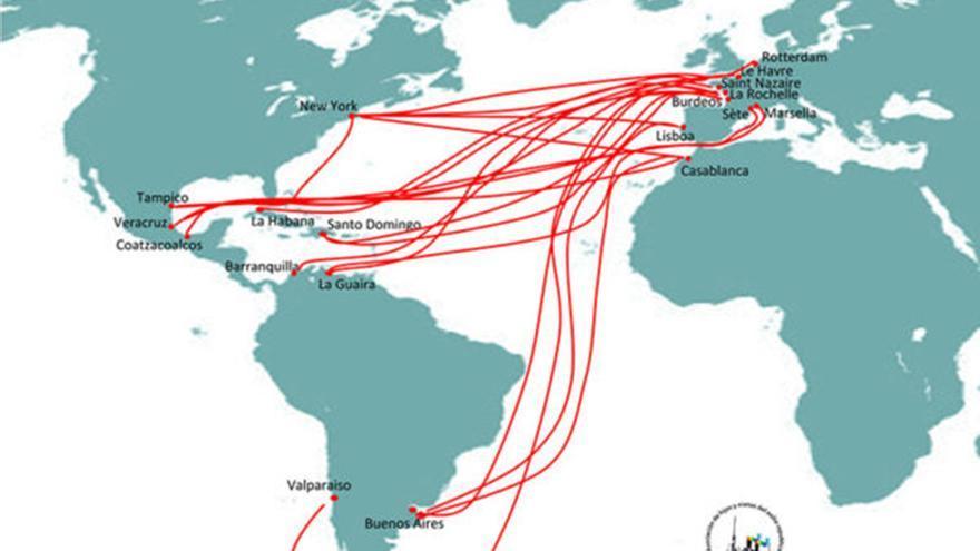 Rutas marítimas del exilio republicano hacia América desde 1939. | BARCOS DEL EXILIO REPUBLICANO ESPAÑOL