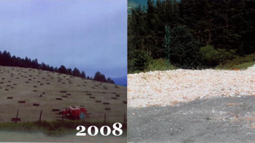 Una imagen de la parcela en 2008 y en la actualidad. / EDN.