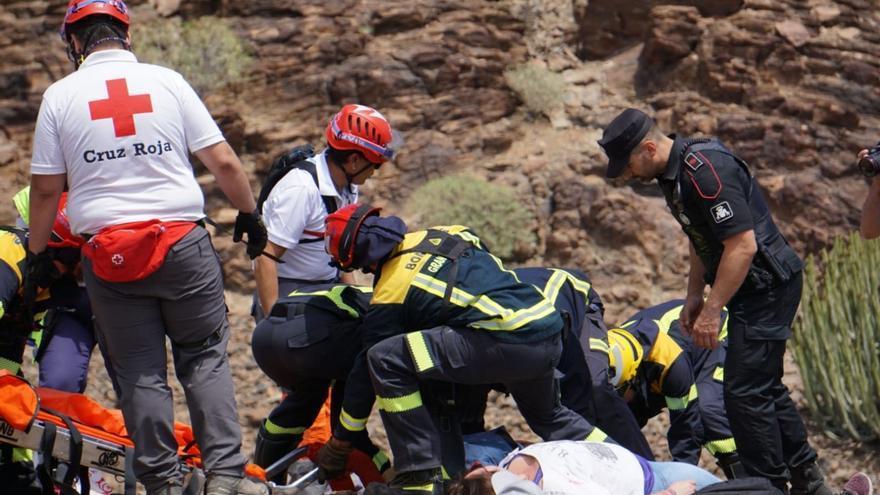 Simulacro de accidente aéreo en el sur de Gran Canaria