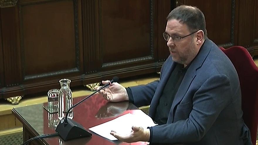 Oriol Junqueras en una sesión del juicio del procés.