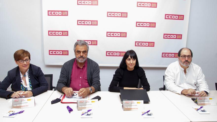 Responsables de Salud y Seguridad Laboral de CC. OO. en Aragón, en la presentación del informe de trabajadoras de residencias de ancianos.