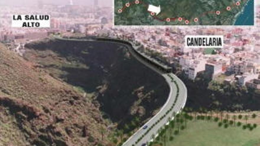 Representación de la futura vía de cornisa de Santa Cruz.