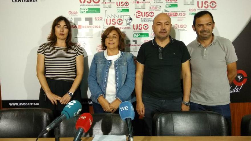 Verónica Cruz, Mercedes Martínez, Pedro Ayllón e Ismael Anievas en la sede de USO Cantabria.