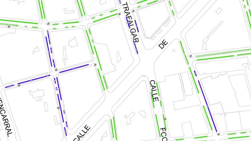 Distribución actual de plazas azules y verdes en el barrio de Trafalgar | AYUNTAMIENTO DE MADRID