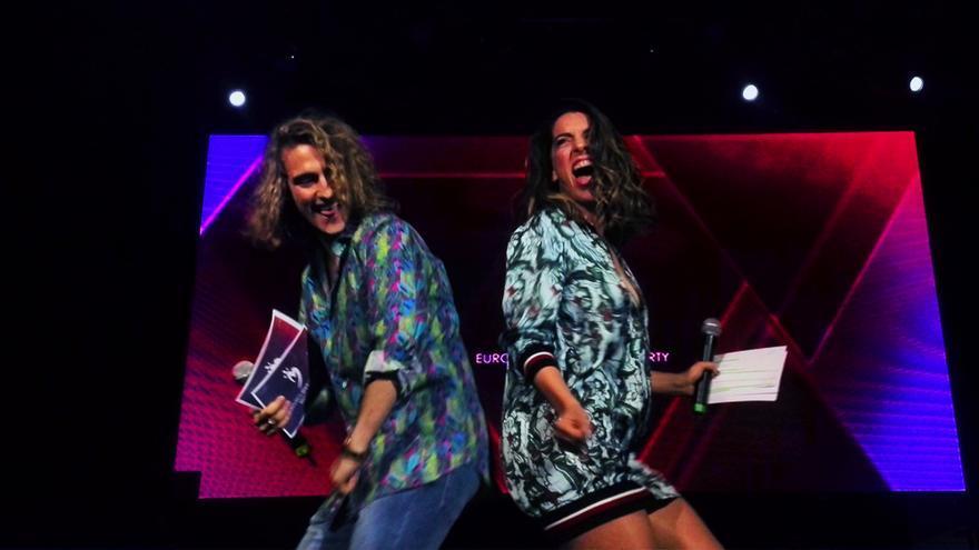 Manel Navarro y Ruth Lorenzo durante en la Eurovision Spain PreParty de Madrid