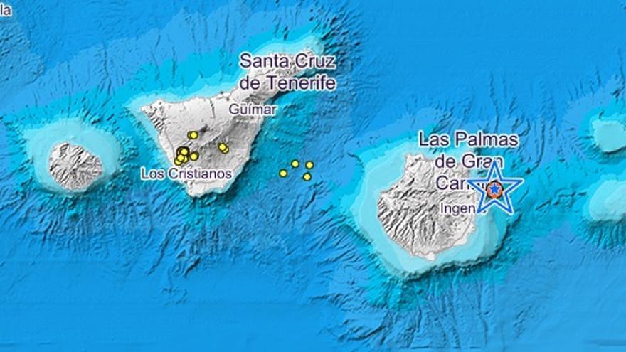 Seísmos registrados en la madrugada del 27 de mayo en Canarias