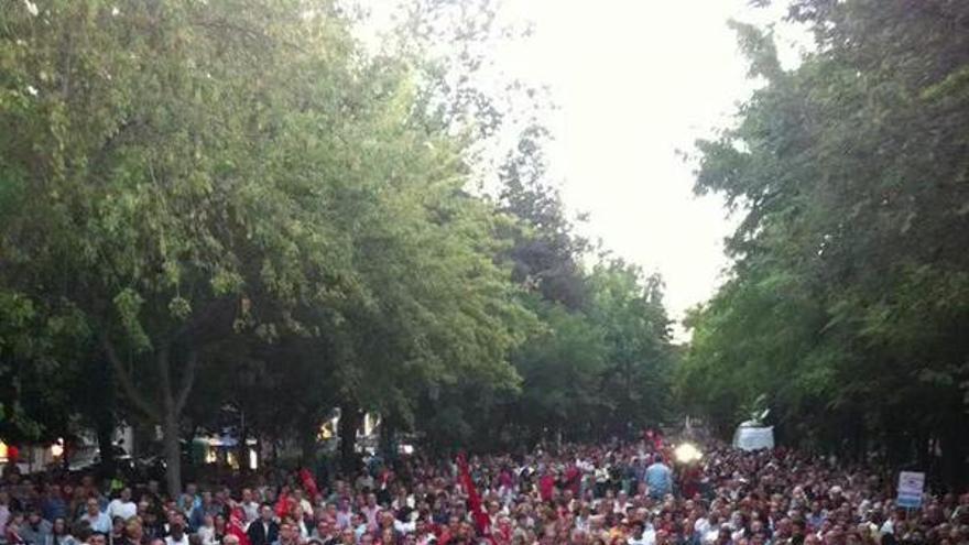Manifestación contra el cierre de Elcogas. Foto por Ángel León / Twitter