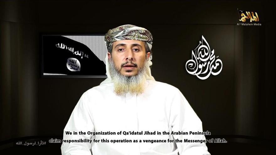 Imagen del portavoz de Al Qaeda en Yemen en el mensaje en el reivindicó el ataque a Charlie Hebdo.