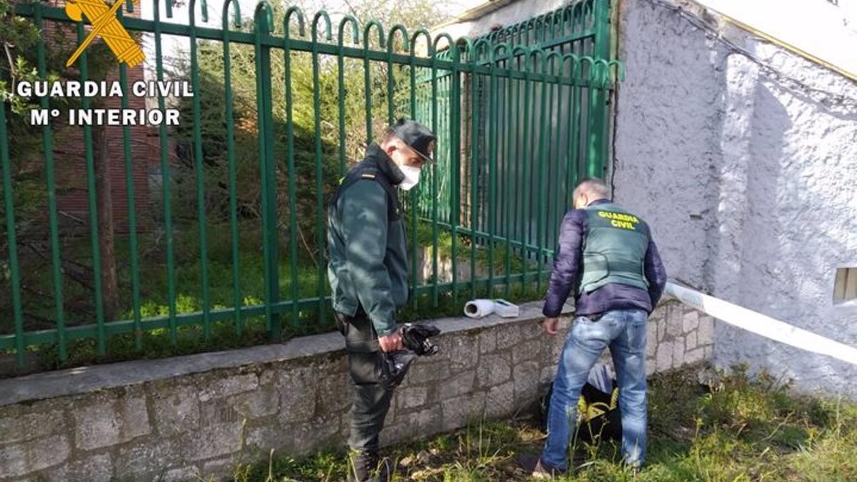 Dos agentes del Seprona inspeccionan el escenario del hallazgo de un gato muerto por presunto envenenamiento.