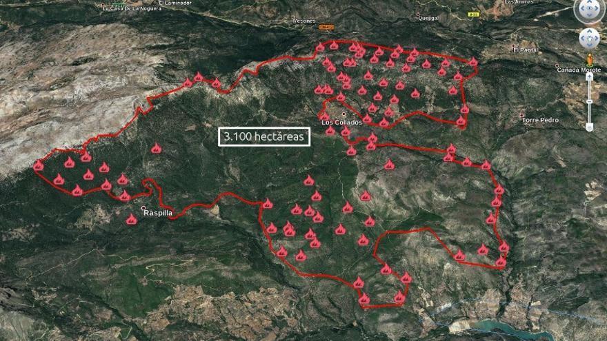 Mapa de la extensión del incendio de Yeste en Google Earth