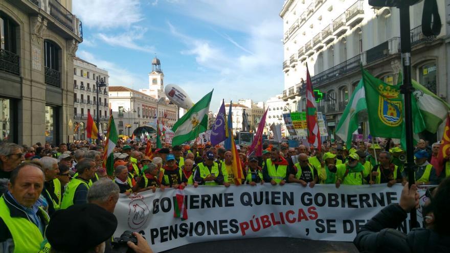 Manifestación de pensionistas para exigir las subidas por ley de las pensiones según el IPC.