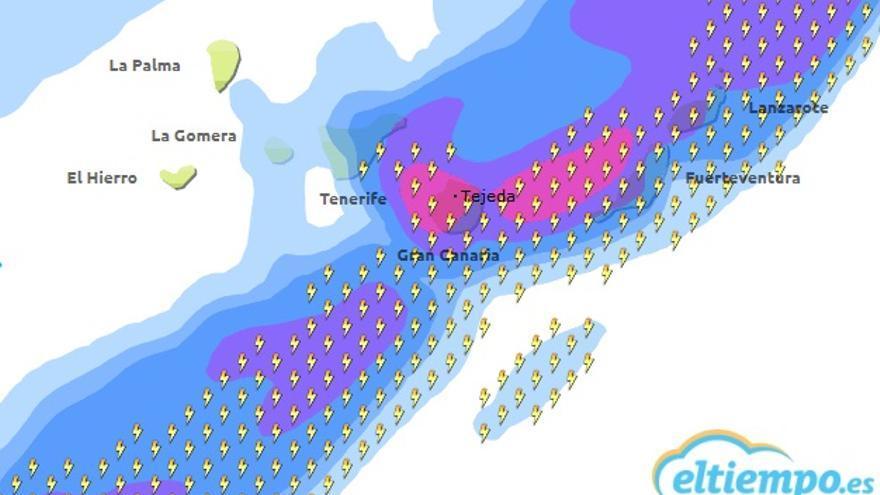 Previsión de la situación meteorológica de este miércoles a las 13:00 elaborada por la web eltiempo.es.