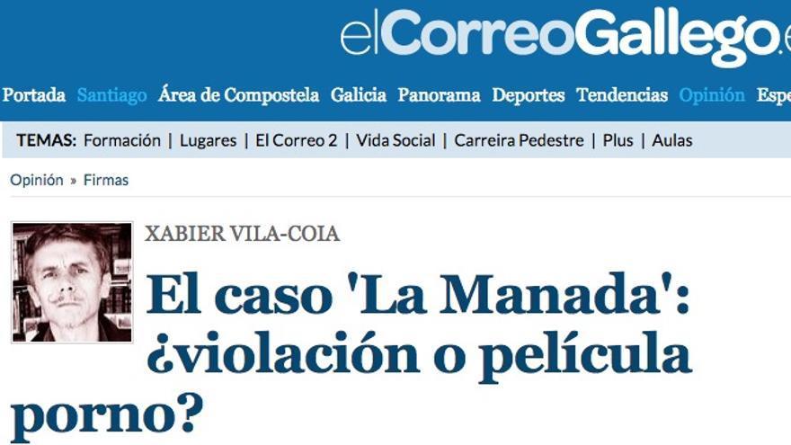 """Artículo de opinión de Xabier Vila-Coia titulado """"El caso 'La Manada': violación o película porno"""""""