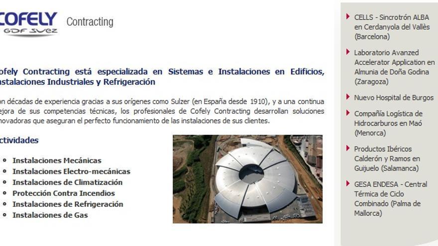 Web de Cofely en la que incluye el Hospital de Burgos como proyecto destacado