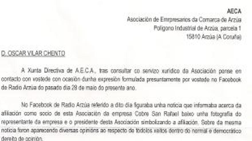 Carta enviada por Aeca a un concejal socialista de O Pino