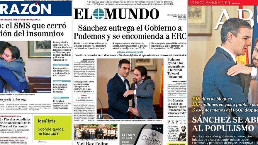 Portadas de La Razón, El Mundo y ABC, el 13 de noviembre de 2019