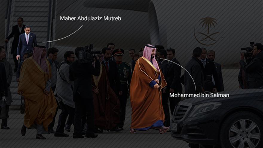 El Príncipe heredero de Arabia Saudí, Bin Salman Abdulaziz al Saud, a su llegada a España. Descendiendo del avión, Maher Abdulaziz Mutreb.