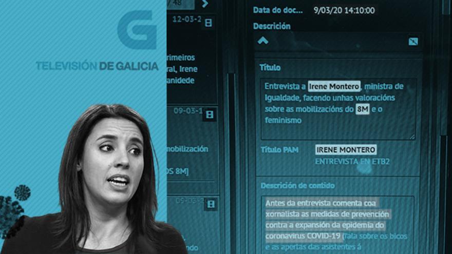 La ministra de Igualdad, Irene Montero, y un pantallazo del programa de gestión de vídeos de la TVG.