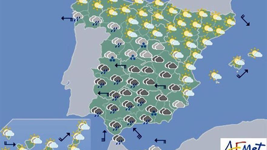 Hoy, lluvias fuertes en Andalucía y Extremadura