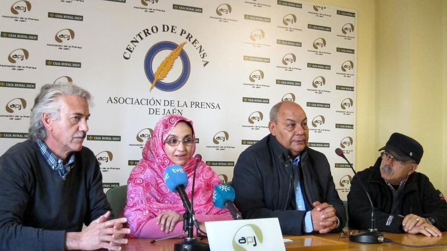 Haidar durante su encuentro con periodistas en Jaén.