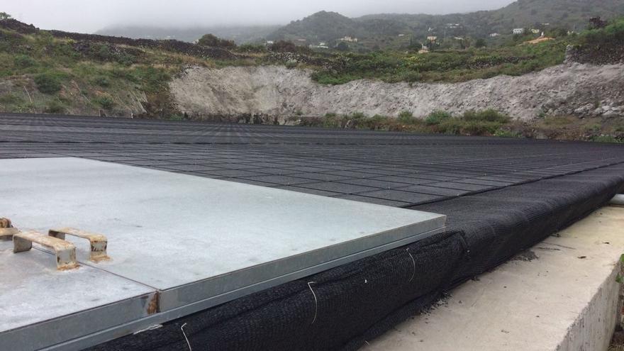 Imagen de las obras de mejora del sistema de riego en la zona del sudeste de La Palma.