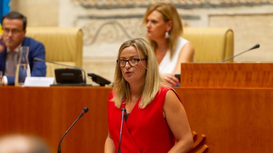 La presidenta de la Asamblea de Extremadura, Blanca Martín, en el acto institucional por el Día de Extremadura