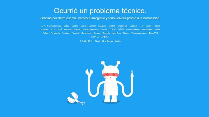 Twitter sufre una caída a nivel mundial
