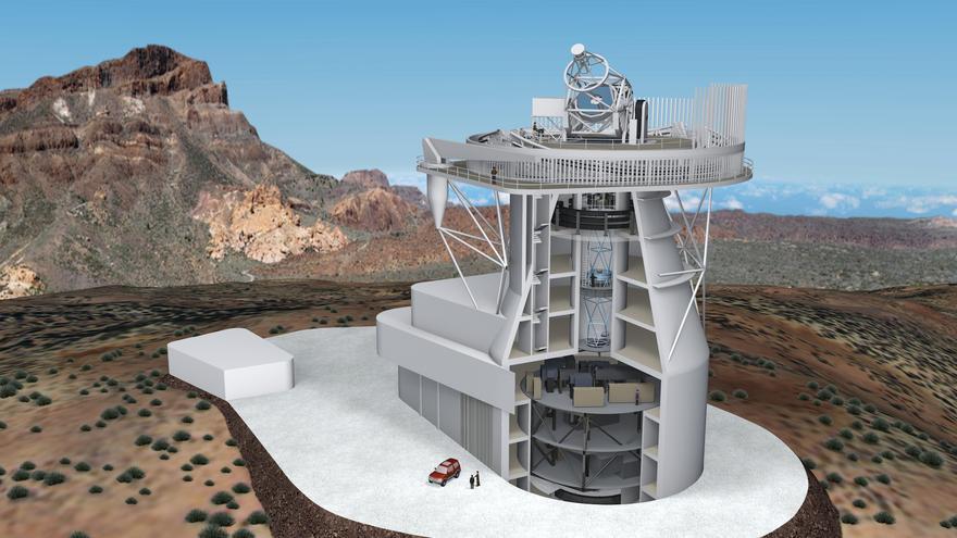 Diseño 3D del futuro Telescopio Solar Europeo. Créditos: IAC.