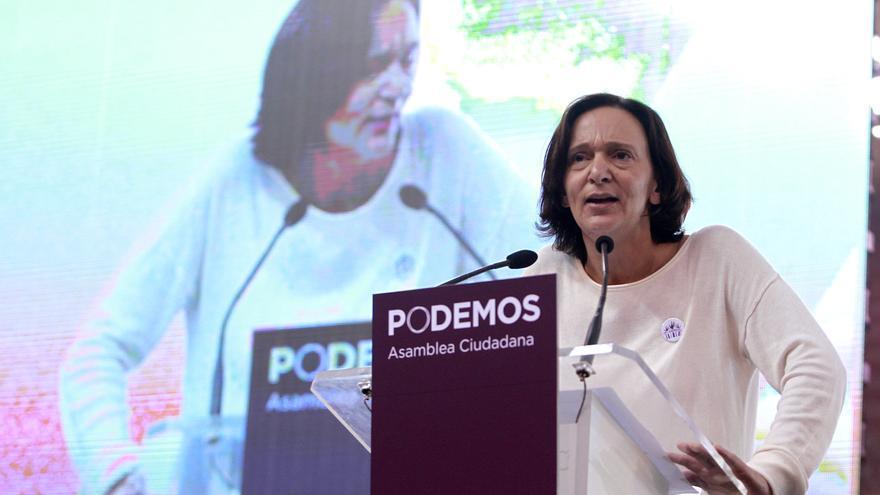 Carolina Bescansa defendiendo la propuesta organizativa del equipo 'Claro que podemos'.  Marta Jara