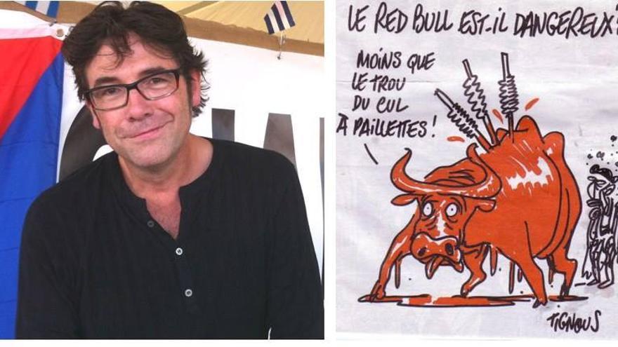 El dibujante Tignous y una de sus viñetas antitaurinas