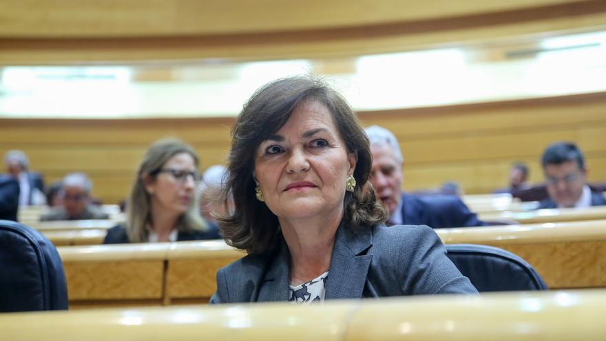 La vicepresidenta, Carmen Calvo, en el Senado.