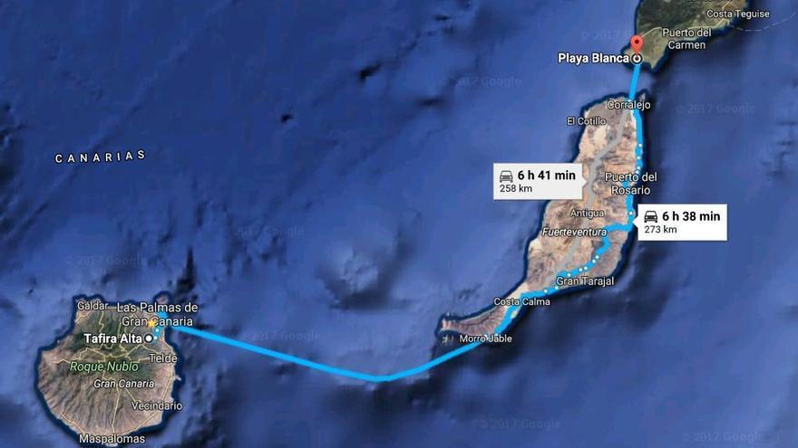 Recorrido realizado por José Manuel Soria con escolta, desde Tafira Alta hasta Playa Blanca.