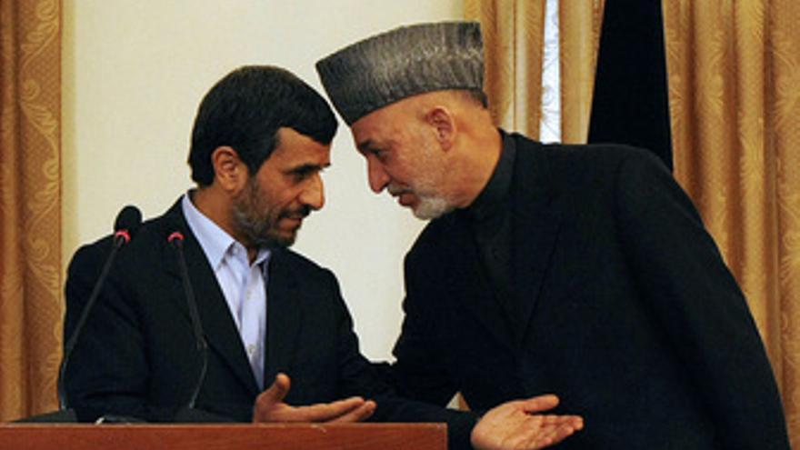 El presidente de Irán, Mahmoud Ahmadineyad, y el presidente de Afganistán, Hamid