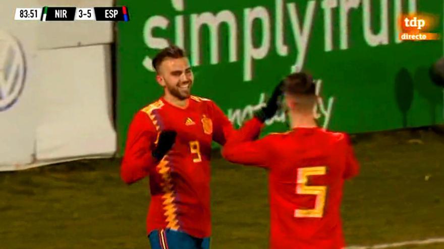 Borja Mayoral celebra el último de sus 3 goles ante Irlanda del Norte