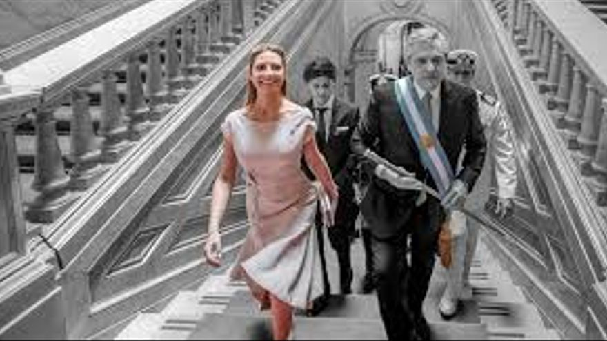 Fabiola Yáñez en la asunción de Alberto Fernández como presidente. Su primer acto como primera dama.
