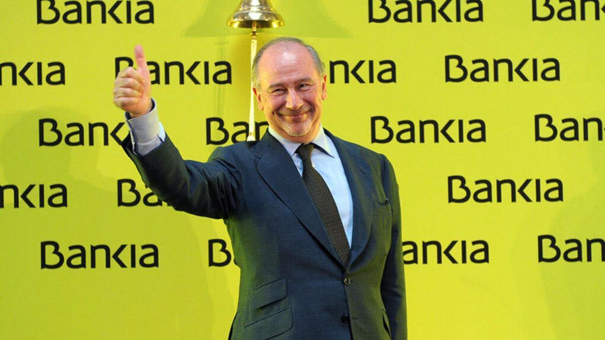 El expresidente de Bankia Rodrigo Rato cuando salió a Bolsa la entidad bancaria.