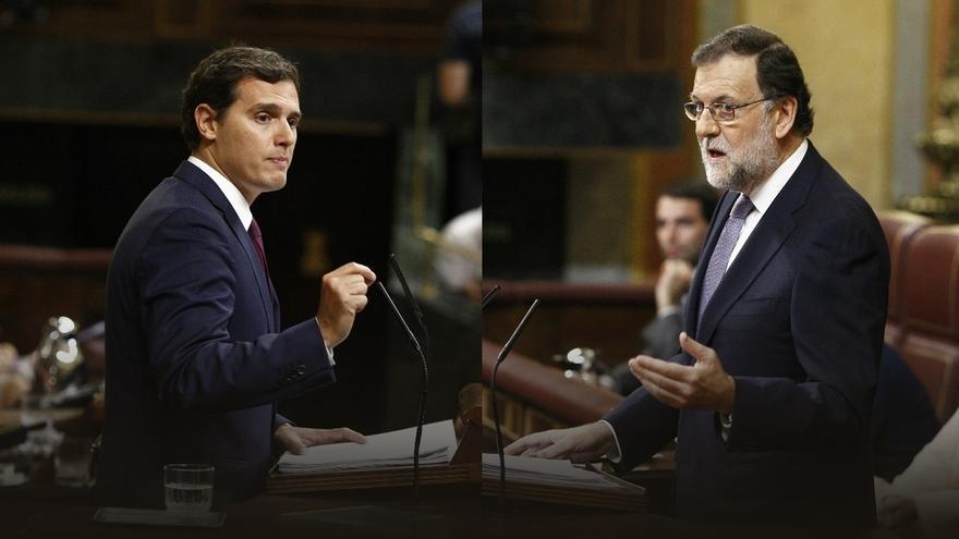 Rajoy y Rivera, interviniendo en el Congreso