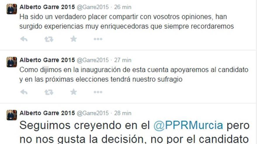 La cuenta de Twitter en apoyo a Garre anuncia que Sánchez será el candidato del PP a presidir la Región de Murcia