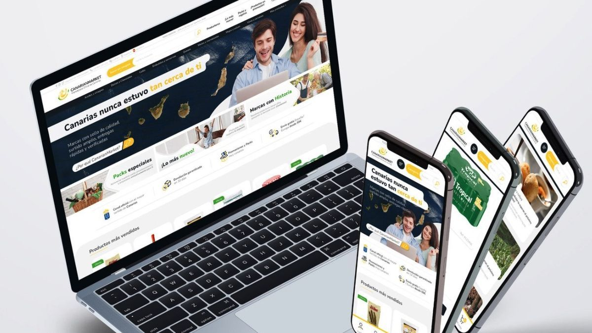 Web y aplicaciones móviles del canal de venta por internet para exportar productos de Canarias.