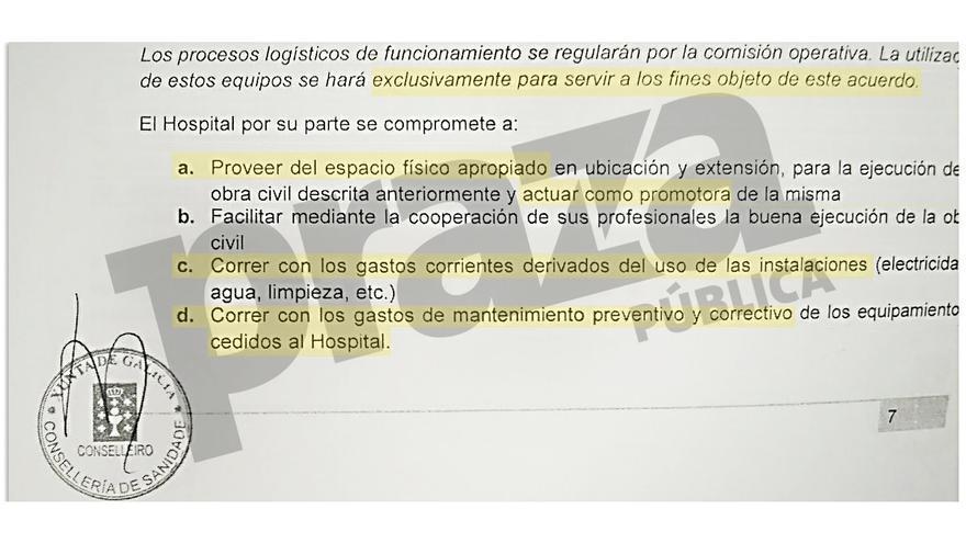 Fragmento del acuerdo con Medtronic que la Xunta se ha negado a mostrar a pacientes del hospital de Santiago